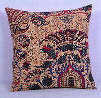"16"" BEIGE FLORAL INDIAN KANTHA CUSHION PILLOW COVER Ethnic Vintage Decor Art"