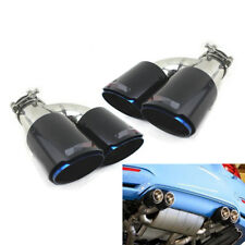 Pair Stainless Carbon Fiber Exhaust Tip H Shaped Blue Outlet Universal for Autos