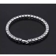 Mens Silver Tennis Bracelet Iced Out Silver New Hiphop Bling Trapstar Rap CZ