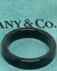 TIFFANY & Co Titanium Midnight 1837 Luxury Band Ring Sz 6 MADE IN ITALY