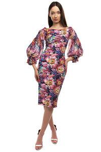 RRP €655 CHIARA BONI LA PETITE ROBE Bodycon Dress Size 40 S Floral Made in Italy