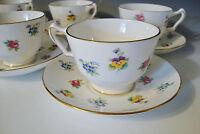 Vtg Crown Staffordshire Fine Bone China England Teacup & Saucer White/Multicolor