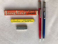Vintage SCRIPTO Mechanical Pencils Lot Of 2, SHEAFFER'S & LONGLINE Lead Lot Of 3