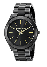 New Michael Kors Gold Black Stainless Steel MK3221 Women Slim Runway Watch