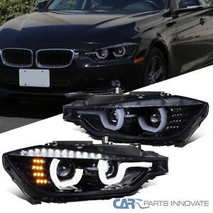 For 12-15 BMW F30 3-Series Black Smoke U-Halo Projector Headlights+LED Signal