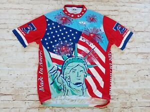 VTG Voler Made In USA Men's Stretch America Stars And Stripes Cycling Jersey 2XL