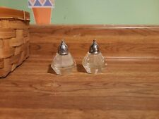 Clear Cut Glass And Silver Salt and Pepper Shakers