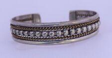 Sterling Silver Twisted Rope Bead Native American Navajo Cuff Bracelet Vintage