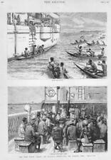 1892  Antique Print - AFRICA Magpie Palaver Kroo Chiefs Fishing Canoes  (139)