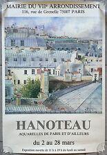 AFFICHE EXPO Aquarelles de Paris et d'ailleurs HANOTEAU 1986