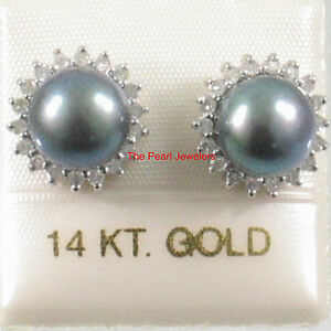 14k White Solid Gold Sparkling Diamond; Black Cultured Pearl Stud Earrings TPJ
