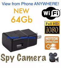 64GB 1080P WIFI USB SPY Hidden Wall Phone Charger Camera AC Adapter Plug DVR