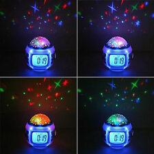 Child Sleeping Sky Star Night Light Projector Lamp Bedroom Alarm Clock music F7