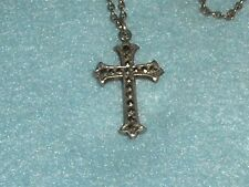 Fine Vintage MARCASITE STERLING SILVER CROSS Pendant + 16 inch CHAIN