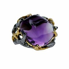 Luxury 53.5ct Retro Natural Amethyst open size ring S925 sterling silverAS41