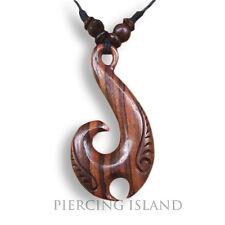 Halskette längenverstellbar Anhänger Holz Kette Maori Haimatau Fishhook N112