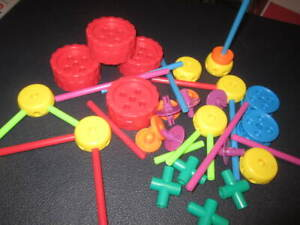 Playskool Tinker Toys Lot Plastic Colorful ..5.99