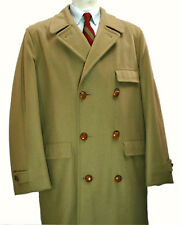 Lakeland 60's vtg Double Breasted Wool Coat 42R Large Overcoat Tan Camel Polo