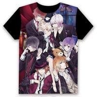 Anime DIABOLIK LOVERS Unisex T-shirt Short Sleeve Cosplay Black Tee S-3XL#MT-962