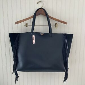 Victorias Secret Tote Bag Limited Edition Faux Leather Fringe Black Brand New