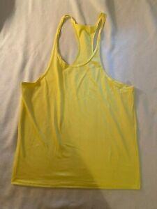 Mens Gym Bodybuilding Fitness Tank Top Yellow Cotton Medium No Brand or label