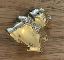 Bow Tie Brooch badge pin Teddy Bear Rhinestones Golden tone