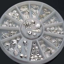 120Pcs 3D Metal Nail Art Decoration Ocean Accessories Silver Shell Conch