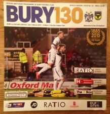 Bury v Oxford United - Division 2 Football Programme - Played 07/03/2015