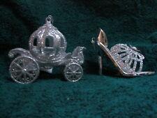 Cinderella Silver Pumpkin Coach Carriage & Slipper High Heel Shoe Resin Ornament