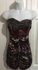 ARDEN B Sexy Purple Gold Beaded Strapless Knit Top Shirt SMALL Club Party Rave