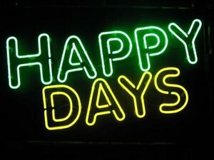 """24""""x20""""Happy Days Neon Sign Light Party Home Room Wall Hanging Visual Artwork"""