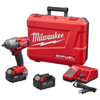 """Milwaukee 2861-22 M18 FUEL 1/2"""" Dr Mid-Torque Impact Wrench Kit w/2) 5.0 Battery"""