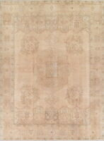 ANTIQUE Distressed Oriental Area Rug Geometric PALE PEACH MUTED Hand-Made 10x13