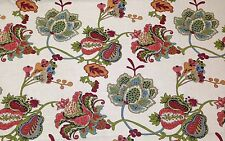 """RICHLOOM LEOPOLD CORAL IVORY JACOBEAN FLORAL MULTIUSE FABRIC BY THE YARD 54""""W"""