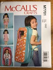 NEW McCall's 'Crafts' Sewing Pattern M7701 Doll Clothes & Doll Carrier
