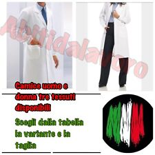 CAMICE MEDICO FARMACISTA UOMO DONNA COTONE SANFOR. 3 TIPOLOGIE DI TESSUTO