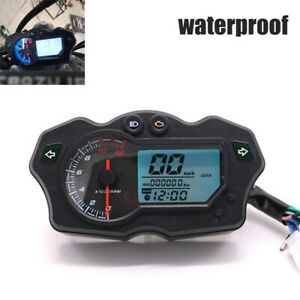 Universal 12000RPM 12V Motorbike Speedometer Gauge 7 Colors Tachometer Odometer