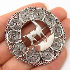 925 Sterling Silver Vintage Filigree Llama Design Pin Brooch