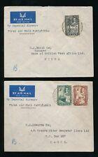 NIGERIA FIRST FLIGHTS 1936 KG5 AIRMAILS MINNA LAGOS KANO...2 COVERS
