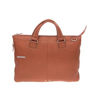 RRP €340 PIQUADRO Leather Laptop Business Bag Large Expandable Detachable Strap