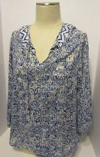 Lucky Brand Blue and White Sheer Blouse Pullover Women's L