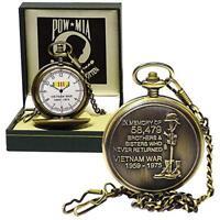 Vietnam MIA POW Pocket Watch - US Military -War Memorial- In Memory-Nam - NEW