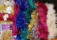 Christmas Decorations - Tinsel - Gold, Silver, Baubles, Green, Blue, Red, White