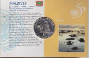 MALDIVES ISLANDS 25 RUFIYAA BU COIN 1996 YEAR KM#95 50th ANNI UNITED NATION