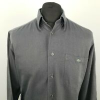 Lacoste Mens Vintage THICK Shirt 39 SMALL Long Sleeve Grey Classic Fit OVERSIZED