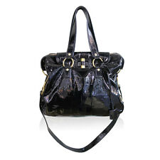 YSL Yves Saint Laurent Patent Black Gold Muse Handbag Shoulder Bag