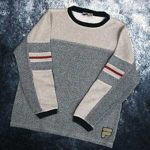 Vintage Oatmeal & Grey Fila Jumper Sweater | Small