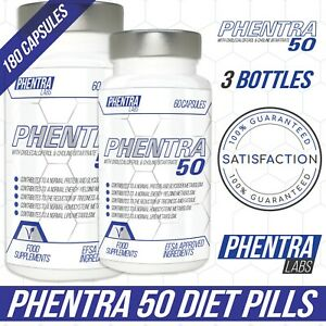 3 x PHENTRAMINE 50 STRONG DIET SLIMMING WEIGHT LOSS PILLS - BY PHENTRA LABS