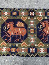 1920s 1930s Vintage Scandinavian Rug Fiber Runner Textile Art  Norwegian Antique