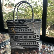 Woven Tote Handbag Black & gray Large Shopping Handmade Vintage Style Retro